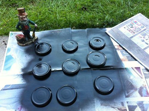 spray painted lids